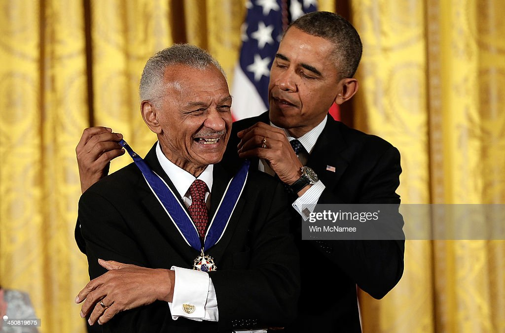 U.S. President Barack Obama awards the Presidential Medal of Freedom to C.T. Vivian in the East Room at the White House on November 20, 2013 in Washington, DC. The Presidential Medal of Freedom is the nation's highest civilian honor, presented to individuals who have made meritorious contributions to the security or national interests of the United States, to world peace, or to cultural or other significant public or private endeavors.