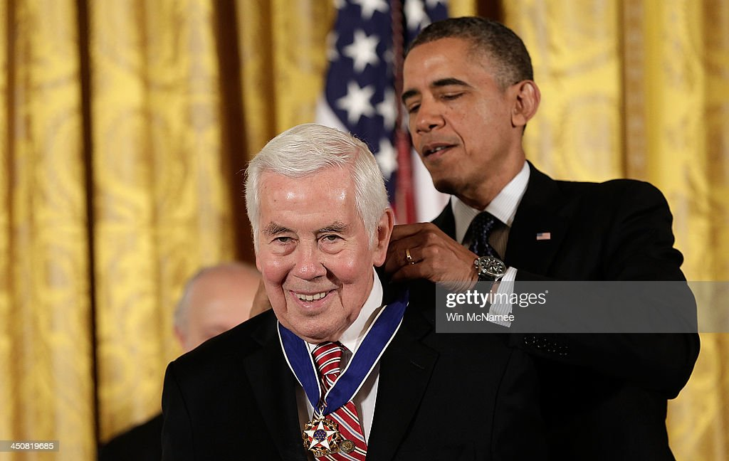 U.S. President Barack Obama awards the Presidential Medal of Freedom to former Sen. Richard Lugar in the East Room at the White House on November 20, 2013 in Washington, DC. The Presidential Medal of Freedom is the nation's highest civilian honor, presented to individuals who have made meritorious contributions to the security or national interests of the United States, to world peace, or to cultural or other significant public or private endeavors.