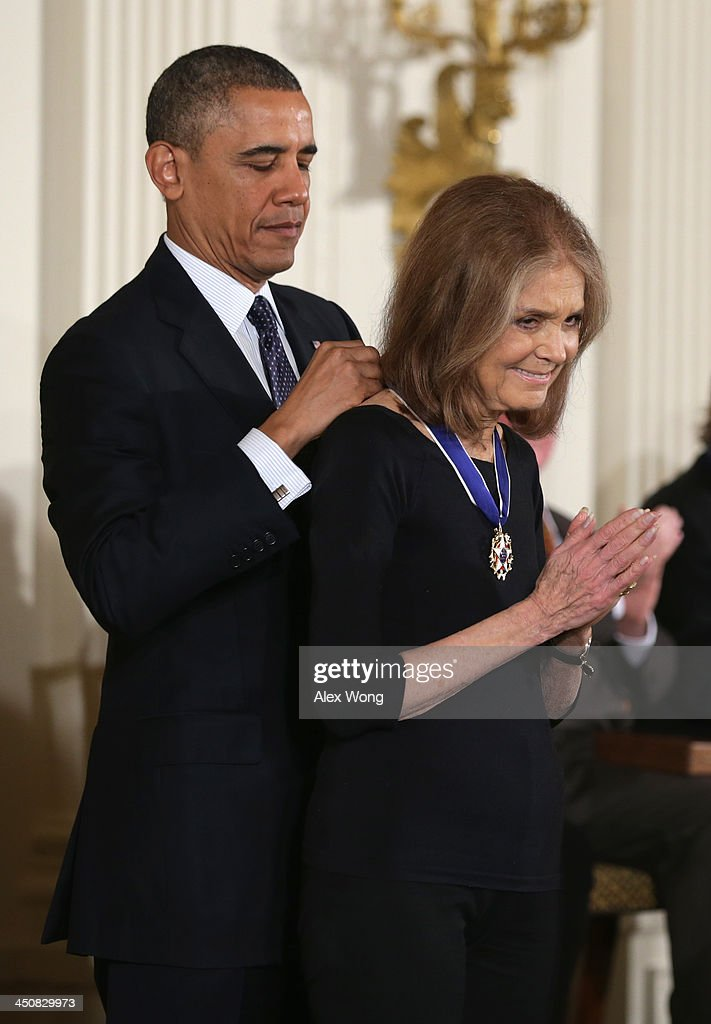U.S. President <a gi-track='captionPersonalityLinkClicked' href=/galleries/search?phrase=Barack+Obama&family=editorial&specificpeople=203260 ng-click='$event.stopPropagation()'>Barack Obama</a> (L) awards the Presidential Medal of Freedom to activist for women's equality <a gi-track='captionPersonalityLinkClicked' href=/galleries/search?phrase=Gloria+Steinem&family=editorial&specificpeople=213078 ng-click='$event.stopPropagation()'>Gloria Steinem</a> (R) in the East Room at the White House on November 20, 2013 in Washington, DC. The Presidential Medal of Freedom is the nation's highest civilian honor, presented to individuals who have made meritorious contributions to the security or national interests of the United States, to world peace, or to cultural or other significant public or private endeavors.