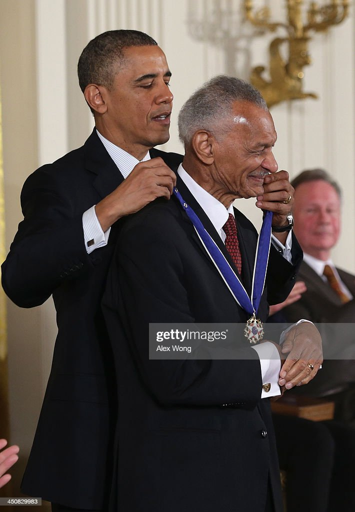 U.S. President Barack Obama (L) awards the Presidential Medal of Freedom to civil rights leader Rev. Cordy Tindell 'C.T.'Vivian (R) in the East Room at the White House on November 20, 2013 in Washington, DC. The Presidential Medal of Freedom is the nation's highest civilian honor, presented to individuals who have made meritorious contributions to the security or national interests of the United States, to world peace, or to cultural or other significant public or private endeavors.