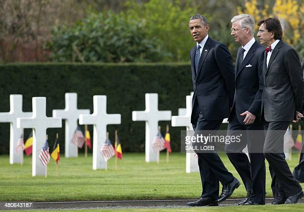 US President Barack Obama Belgium's King Philippe and Belgian Prime Minister Elio Di Rupo visit the WWI Flanders Field Cemetery in Waregem on March...
