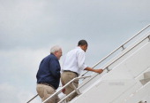 US President Barack Obama board Air Force One with FEMA Director before departing from Tinker Air Force Base in Oklahoma City Oklahoma on May 26 2013...