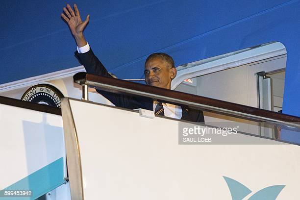 US President Barack Obama boards Air Force One prior to departure from Hangzhou Xioshan International Airport in Hangzhou on September 5 following...