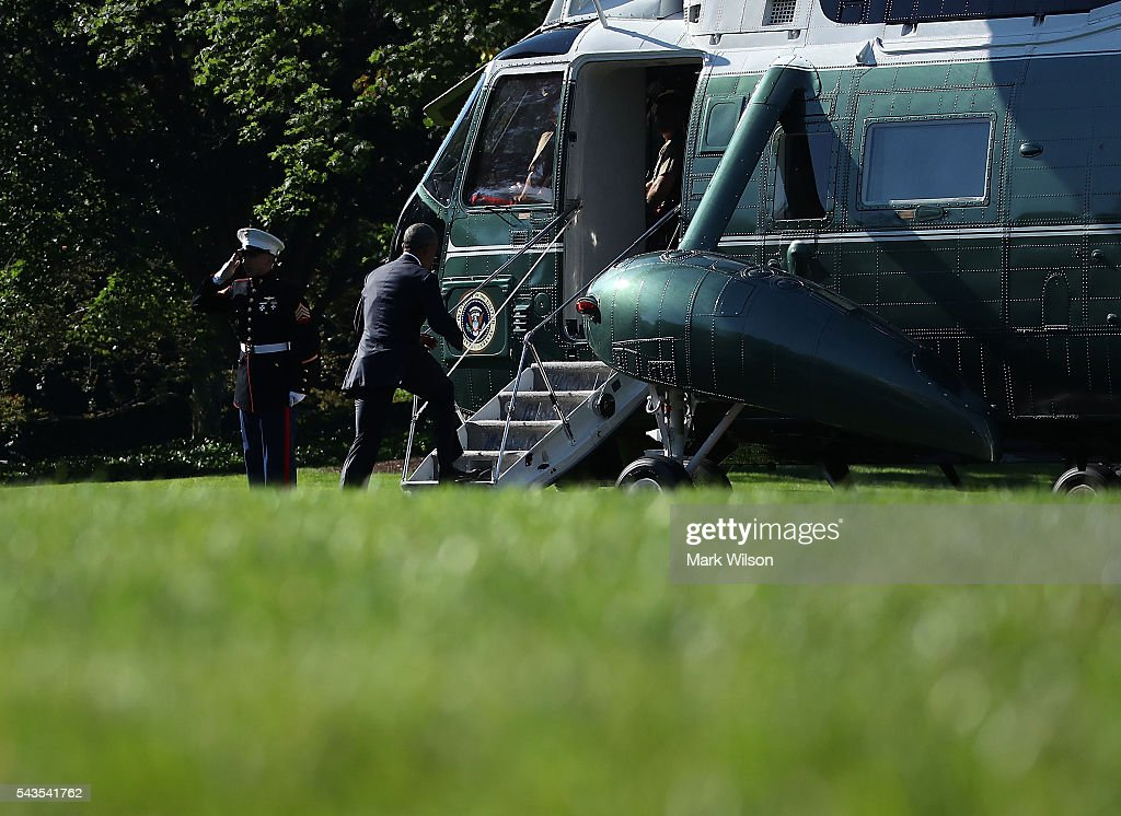 US President <a gi-track='captionPersonalityLinkClicked' href=/galleries/search?phrase=Barack+Obama&family=editorial&specificpeople=203260 ng-click='$event.stopPropagation()'>Barack Obama</a> boards Marine One while departing from the White House on June 29, 2016 in Washington, DC. President Obama is traveling to Canada to attend the North American Summit, where he will meet the leaders from Canada and Mexico, and address a joint session of the Canadian parliament.