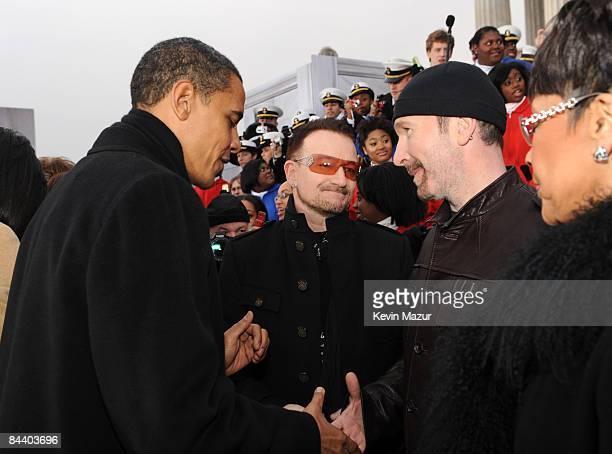 WASHINGTON JANUARY 18 *EXCLUSIVE* President Barack Obama Bono and The Edge backstage at ÒWe are One The Obama Inaugural Celebration At The Lincoln...