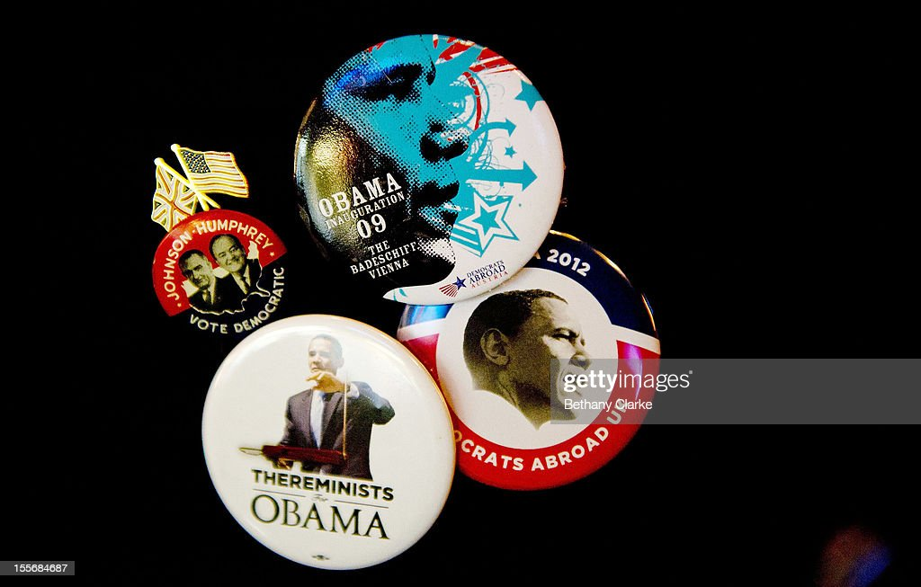 U.S. President <a gi-track='captionPersonalityLinkClicked' href=/galleries/search?phrase=Barack+Obama&family=editorial&specificpeople=203260 ng-click='$event.stopPropagation()'>Barack Obama</a> buttons hang on a coat on on November 6, 2012 in London, England. U.S. President <a gi-track='captionPersonalityLinkClicked' href=/galleries/search?phrase=Barack+Obama&family=editorial&specificpeople=203260 ng-click='$event.stopPropagation()'>Barack Obama</a> and Republican presidential candidate Mitt Romney are in a virtual tie in the national polls.