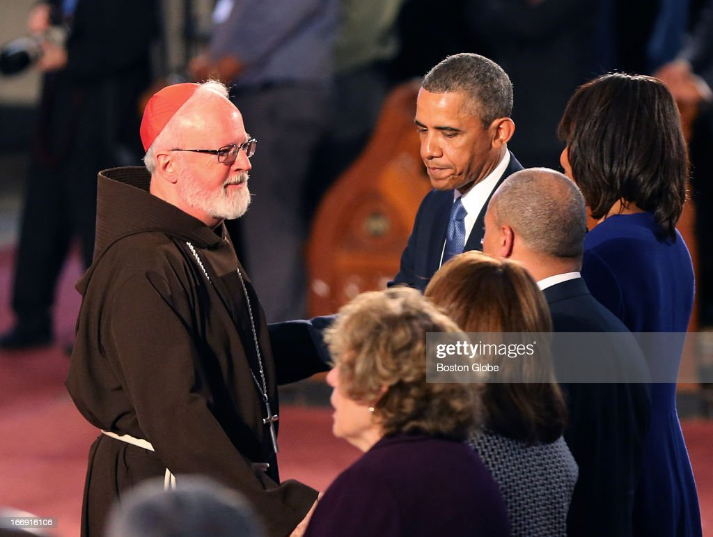 President Barack Obama came to Boston to the Cathedral of the Holy Cross for an interfaith healing service for the victims of the Boston Marathon bombing. Cardinal Sean O'Malley said goodbye to the president and his wife, Michelle Obama, at the end of the service. Also with them is Gov.Deval Patrick his wife, Dianne, and Mayor Menino's wife, Angela.