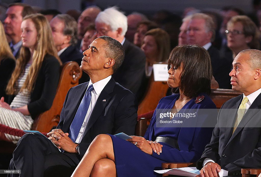 President Barack Obama came to Boston to the Cathedral of the Holy Cross for an interfaith healing service for the victims of the Boston Marathon bombing. He sits in the front row with his wife, Michelle Obama, and Gov. Deval Patrick, right.