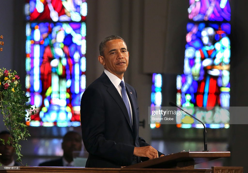 President Barack Obama came to the Cathedral of the Holy Cross in Boston for an interfaith healing service for the victims of the Boston Marathon bombing. He appears somber as he pauses during his speech.