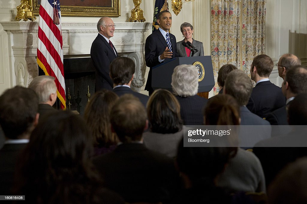 U.S. President <a gi-track='captionPersonalityLinkClicked' href=/galleries/search?phrase=Barack+Obama&family=editorial&specificpeople=203260 ng-click='$event.stopPropagation()'>Barack Obama</a>, center, announces Sally Jewell, chief executive officer of Recreational Equipment Inc., right, as his nominee to become secretary of the U.S. Interior Department at the White House with <a gi-track='captionPersonalityLinkClicked' href=/galleries/search?phrase=Ken+Salazar&family=editorial&specificpeople=228558 ng-click='$event.stopPropagation()'>Ken Salazar</a>, U.S. secretary of the interior, in Washington, D.C., U.S., on Wednesday, Feb. 6, 2013. Jewell's background as an engineer and experience in the banking, energy and retail industries give her the skills needed to manage a department that oversees 500 million acres of public land, Obama said. Photographer: Andrew Harrer/Bloomberg via Getty Images