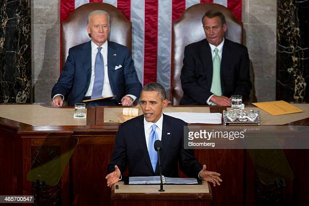 US President Barack Obama center delivers the State of the Union address to a joint session of Congress as Joseph 'Joe' Biden US vice president back...