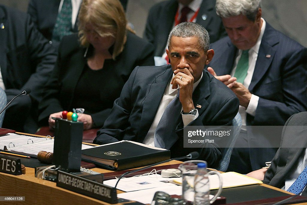 S President Barack Obama chairs a Security Council meeting on global terrorism during the United Nations General Assembly on September 24 2014 in New...