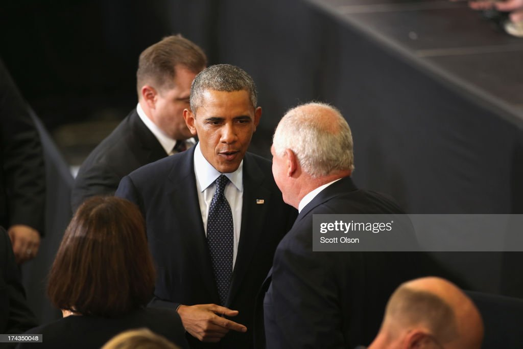 President <a gi-track='captionPersonalityLinkClicked' href=/galleries/search?phrase=Barack+Obama&family=editorial&specificpeople=203260 ng-click='$event.stopPropagation()'>Barack Obama</a> chats with Illinois Governor Pat Quinn following Obama's address about the state of the economy and his vision for the future at Knox College on July 24, 2013 in Galesburg, Illinois. Obama is scheduled to speak later today in Warrensburg, Missouri.