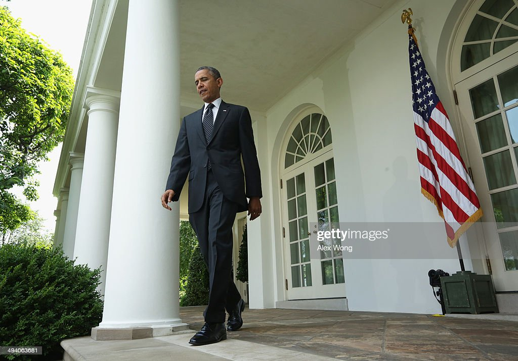 U.S. President <a gi-track='captionPersonalityLinkClicked' href=/galleries/search?phrase=Barack+Obama&family=editorial&specificpeople=203260 ng-click='$event.stopPropagation()'>Barack Obama</a> comes out from the Oval Office for a statement about military troop pullout from Afghanistan at the White House on May 27, 2014 in Washington, DC. The administration's plan is to keep a contingency force of 9,800 U.S. troops in Afghanistan beyond 2014, consolidating them in Kabul and on Bagram Air Base.