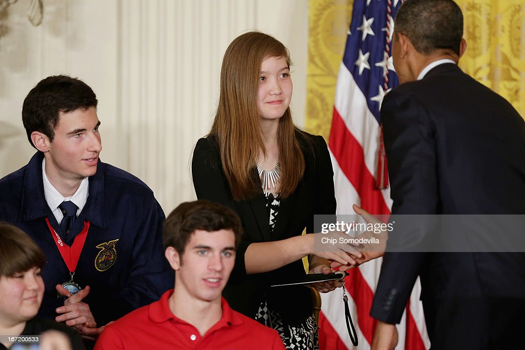 U.S. President <a gi-track='captionPersonalityLinkClicked' href=/galleries/search?phrase=Barack+Obama&family=editorial&specificpeople=203260 ng-click='$event.stopPropagation()'>Barack Obama</a> congratulates student winners of the third annual White House Science Fair in the East Room of the White House April 22, 2013 in Washington, DC. During the celebration of science, technology, engineering and math (STEM) competition winners from across the country, Obama annunced the creation of STEM AmeriCorps. According to the White House, 'This effort will place national service members in nonprofits that mobilize STEM professionals to inspire young people to excel in STEM education.'