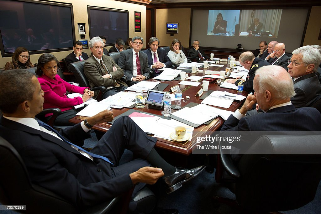 U.S. President <a gi-track='captionPersonalityLinkClicked' href=/galleries/search?phrase=Barack+Obama&family=editorial&specificpeople=203260 ng-click='$event.stopPropagation()'>Barack Obama</a> convenes a National Security Council meeting in the Situation Room of the White House to discuss the situation in Ukraine, on March 3, 2014 in Washington, DC. Tensions continue to rise as Russian military forces occupy the Crimea region of Ukraine.