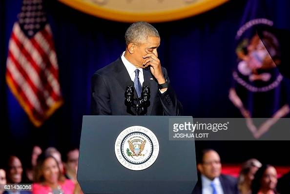 President Barack Obama cries as he speaks during his farewell address in Chicago Illinois on January 10 2017 Barack Obama closes the book on his...
