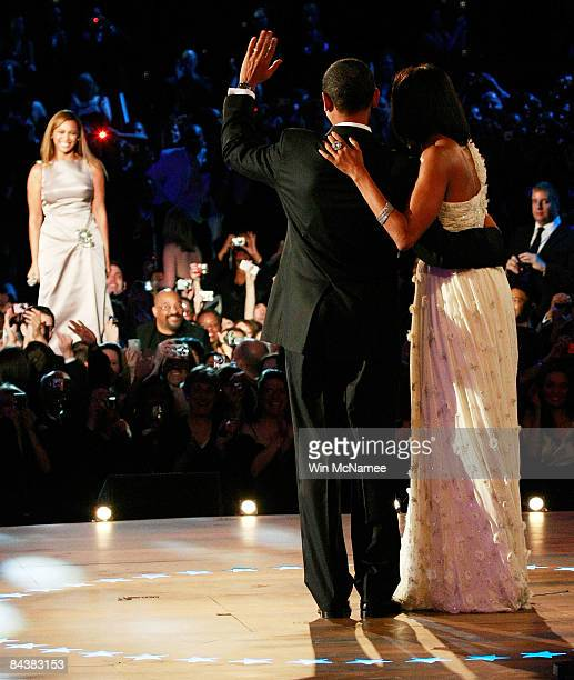 President Barack Obama dances with his wife first lady Michelle Obama as Beyonce sings 'At Last' during thei first Inaugural Ball on January 20 2009...
