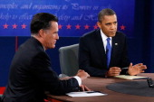 S President Barack Obama debates with Republican presidential candidate Mitt Romney at the Keith C and Elaine Johnson Wold Performing Arts Center at...