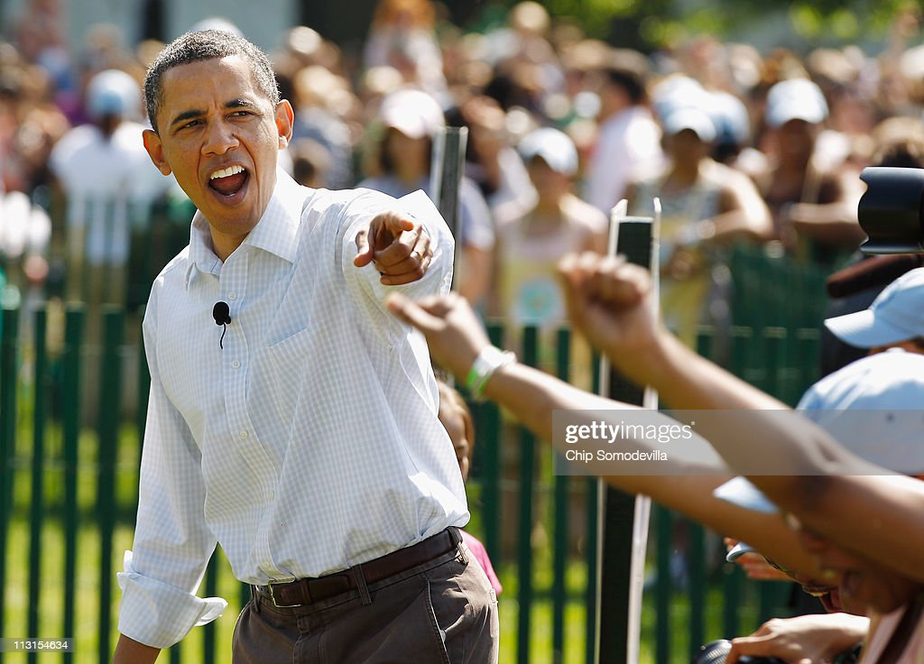 US President Barack Obama declares a winner while officially opening the White House Easter Egg Roll on the South Lawn of the White House April 25...