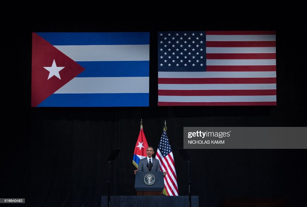 US President Barack Obama delivers a speech at the Gran Teatro de la Habana in Havana on March 22, 2016. President Barack Obama said that Cubans should be free to speak without fear, should not be detained for their thoughts and should embrace democracy, in a speech televised across the Communist-run island Tuesday. AFP PHOTO/ Nicholas KAMM / AFP / NICHOLAS