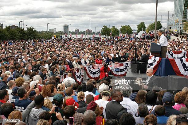 President Barack Obama delivers a speech during a Labor Day event sponsored by the Metro Detroit Central Labor Council on September 5 2011 in Detroit...