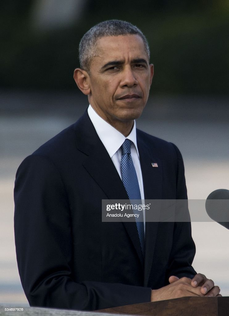 U.S. President Barack Obama delivers a speech during his visit to the cenotaph at Hiroshima Peace Memorial Park to respect to the families of victims, killed by an atomic bomb in Hiroshima, Japan on May 27, 2016. US President Barack Obama is the first American president, visiting Hiroshima after United States of America dropped Atomic bomb in Hiroshima on August 6, 1945.