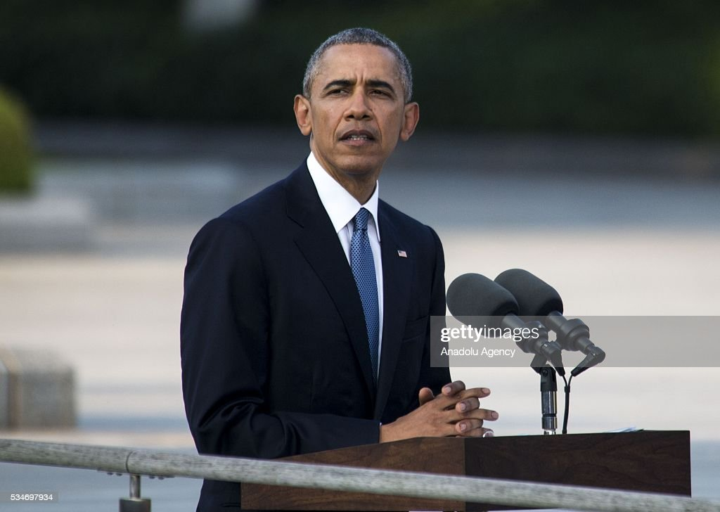 U.S. President Barack Obama delivers a speech during his visit to the cenotaph at Hiroshima Peace Memorial Park to respect to the families of victims, killed by an atomic bomb, in Hiroshima, Japan on May 27, 2016. US President Barack Obama is the first American president, visiting Hiroshima after United States of America dropped Atomic bomb in Hiroshima on August 6, 1945.