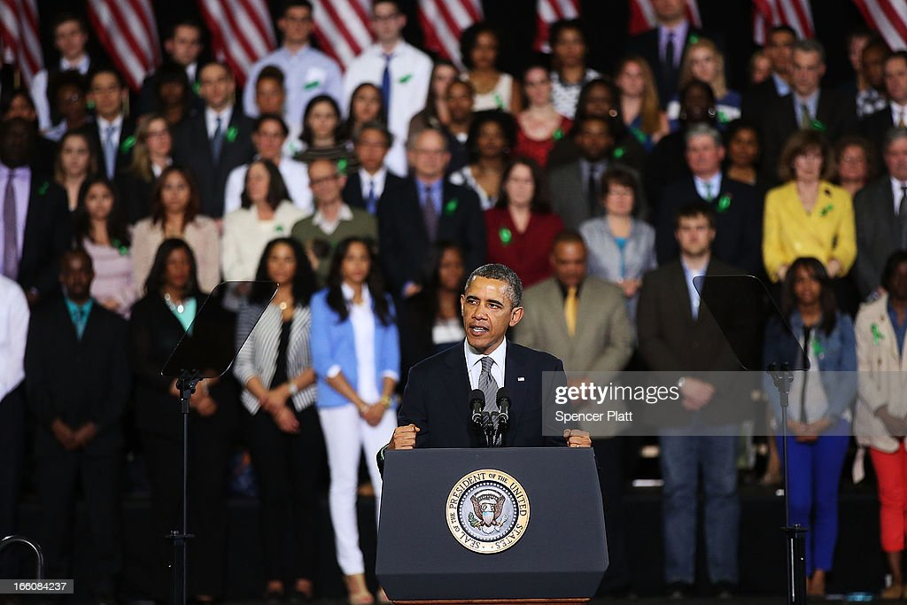 U.S. President Barack Obama delivers a speech on gun control at the University of Hartford on April 8, 2013 in West Hartford, Connecticut. Nearly four months after the Sandy Hook Elementary School shootings, Connecticut has passed some of the toughest gun control measures in the nation.