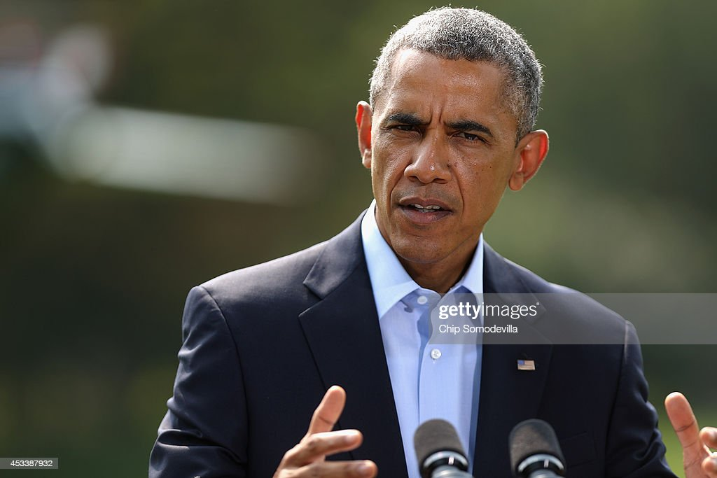 S President Barack Obama delivers a statement about the ongoing US military actions and humanitarian drops in northern Iraq before leaving the White...