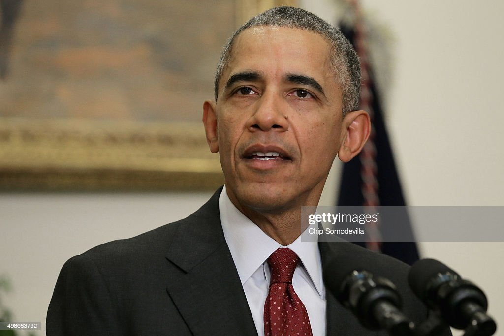 S President Barack Obama delivers a statement in the Roosevelt Room following a national security meeting in the Situation Room at the White House...