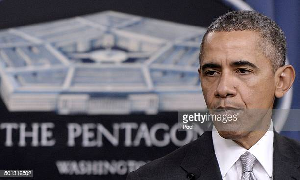 US President Barack Obama delivers a statement on the counterISIL campaign in the Pentagon briefing room December 14 2015 in Arlington Virginia...