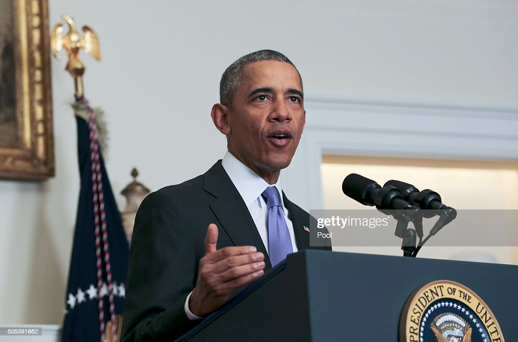 US President Barack Obama delivers a statement on the relations between US and Iran including the release of the US hostages that were held in Iran...