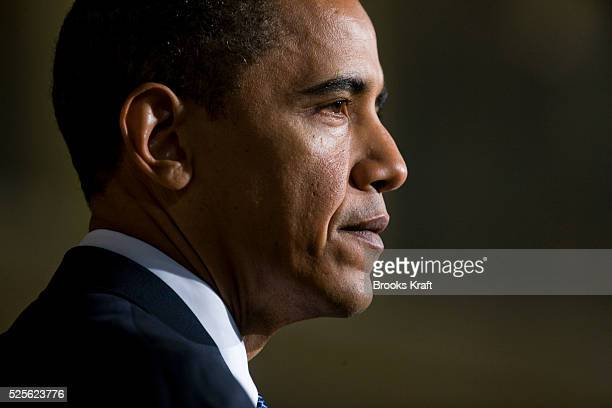 President Barack Obama delivers an address on national security terrorism and the closing of Guantanamo Bay prison at the National Archives in...