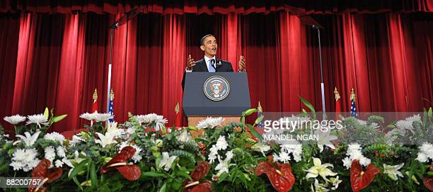 US President Barack Obama delivers his address to the Muslim world from the auditorium in the Cairo University campus in Cairo during a oneday visit...