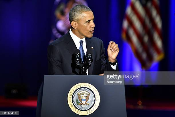 US President Barack Obama delivers his farewell address in Chicago Illinois US on Tuesday Jan 10 2017 Obama blasted 'zerosum' politics as he drew a...