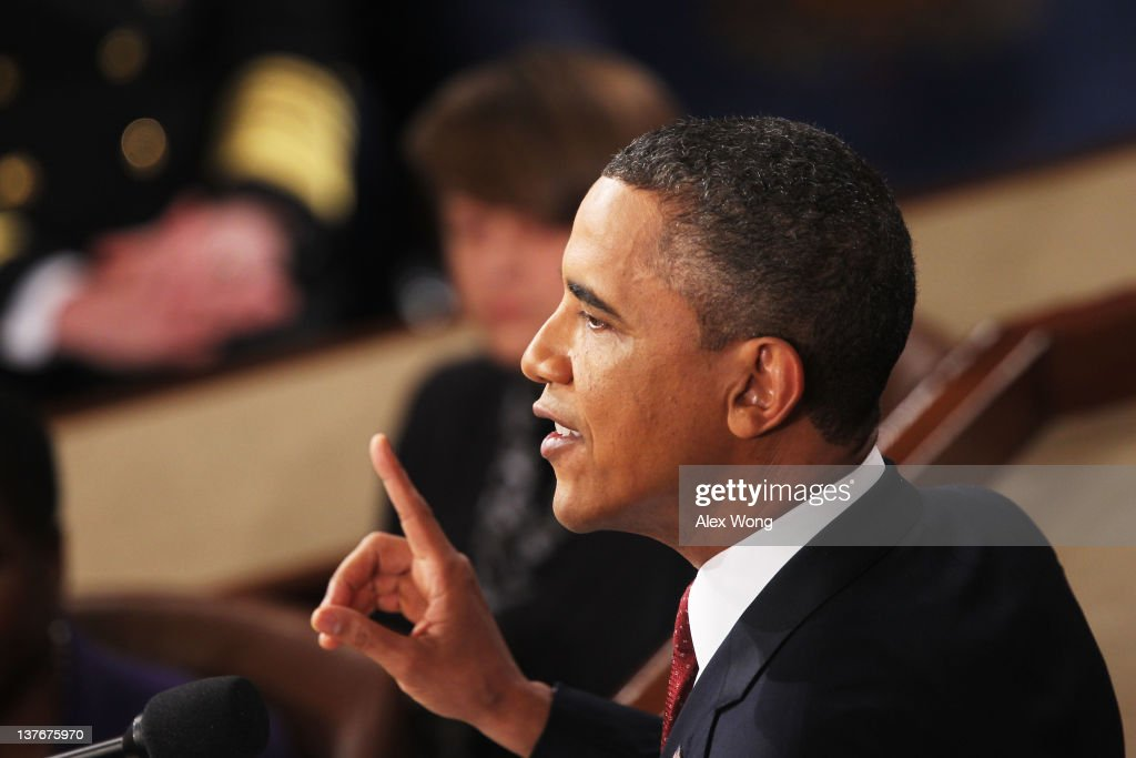 U.S. President <a gi-track='captionPersonalityLinkClicked' href=/galleries/search?phrase=Barack+Obama&family=editorial&specificpeople=203260 ng-click='$event.stopPropagation()'>Barack Obama</a> delivers his State of the Union adddress on January 24, 2012 in Washington, DC. Obama said the focal point his speech is the central mission of our country, and his central focus as president, including 'rebuilding an economy where hard work pays off and responsibility is rewarded.'