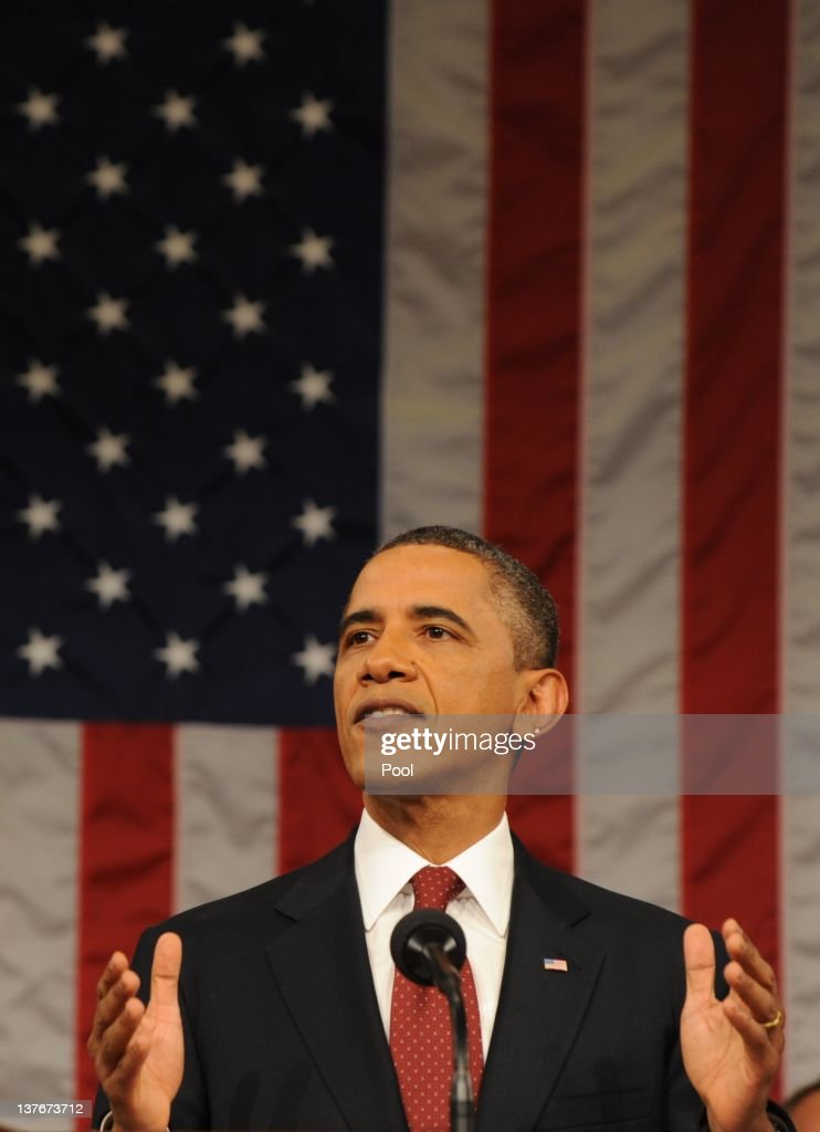 U.S. President <a gi-track='captionPersonalityLinkClicked' href=/galleries/search?phrase=Barack+Obama&family=editorial&specificpeople=203260 ng-click='$event.stopPropagation()'>Barack Obama</a> delivers his State of the Union address before a joint session of Congress on Capitol Hill January 24, 2012 in Washington, DC. The president made a populist pitch to voters for economic fairness, saying the federal government should more do to balance the benefits of a capitalist society.