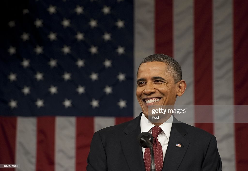 S President Barack Obama delivers his State of the Union address before a joint session of Congress on Capitol Hill January 24 2012 in Washington DC...
