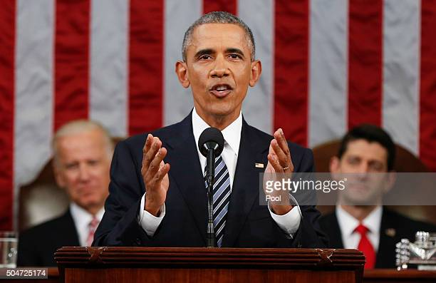 President Barack Obama delivers his State of the Union address before a joint session of Congress on Capitol Hill January 12 2016 in Washington DC In...