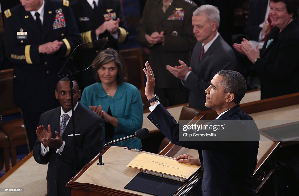 U.S. President <a gi-track='captionPersonalityLinkClicked' href=/galleries/search?phrase=Barack+Obama&family=editorial&specificpeople=203260 ng-click='$event.stopPropagation()'>Barack Obama</a> delivers his State of the Union speech before a joint session of Congress at the U.S. Capitol February 12, 2013 in Washington, DC. Facing a divided Congress, Obama is focused his speech on new initiatives designed to stimulate the U.S. economy and said, 'It's not a bigger government we need, but a smarter government that sets priorities and invests in broad-based growth'.