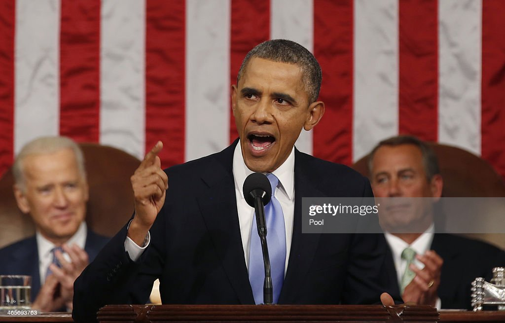 U.S. President <a gi-track='captionPersonalityLinkClicked' href=/galleries/search?phrase=Barack+Obama&family=editorial&specificpeople=203260 ng-click='$event.stopPropagation()'>Barack Obama</a> delivers his State of the Union speech on Capitol Hill on January 28, 2014 in Washington, DC. In his fifth State of the Union address, Obama is expected to emphasize on healthcare, economic fairness and new initiatives designed to stimulate the U.S. economy with bipartisan cooperation.