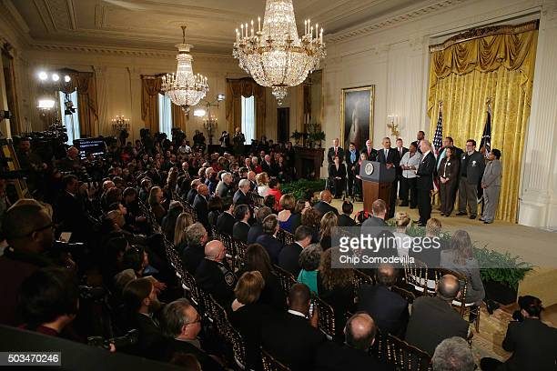 S President Barack Obama delivers remarks about his efforts to increase federal gun control in the East Room of the White House January 5 2016 in...