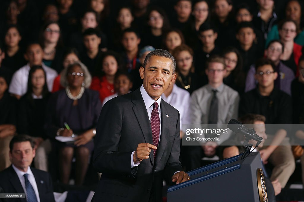 U.S. President <a gi-track='captionPersonalityLinkClicked' href=/galleries/search?phrase=Barack+Obama&family=editorial&specificpeople=203260 ng-click='$event.stopPropagation()'>Barack Obama</a> delivers remarks about the ConnectED program at Buck Lodge Middle School February 4, 2014 in Adelphi, Maryland. As part of the president's ConnectED program, Obama has tasked the Federal Communications Commission to help to build high-speed digital connections to America's schools and libraries, with the goal of getting 99-percent of American students to next-generation broadband and wireless technology within five years.