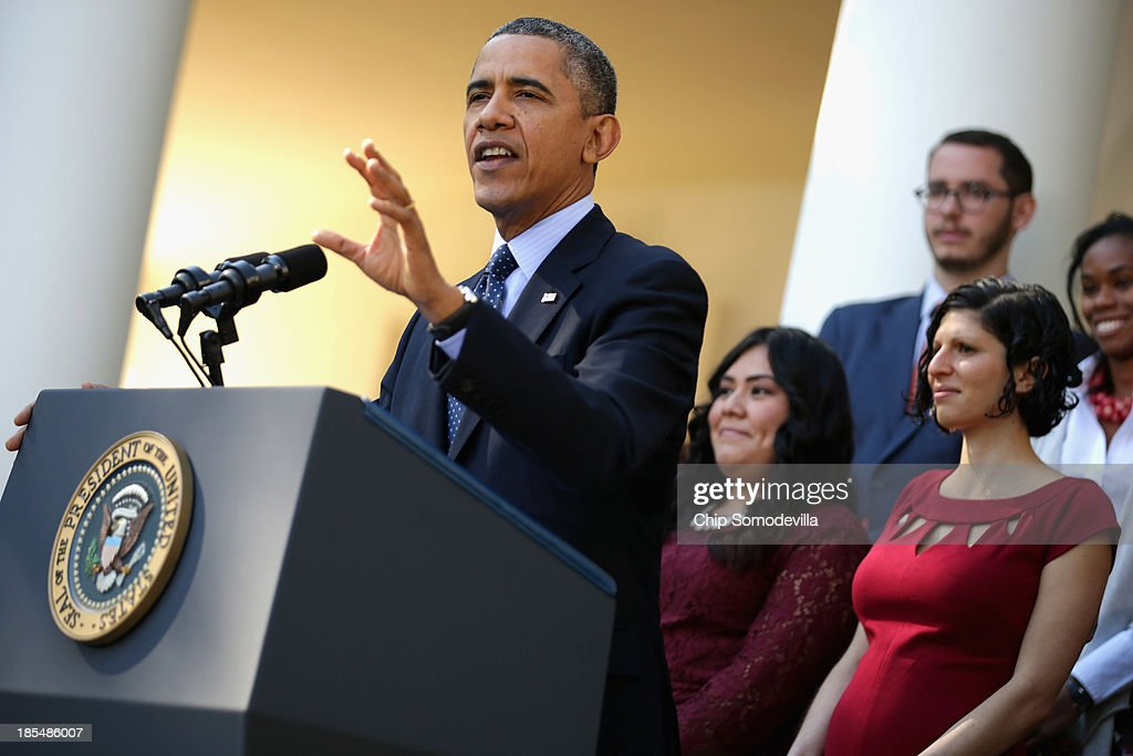 U.S. President <a gi-track='captionPersonalityLinkClicked' href=/galleries/search?phrase=Barack+Obama&family=editorial&specificpeople=203260 ng-click='$event.stopPropagation()'>Barack Obama</a> delivers remarks about the error-plagued launch of the Affordable Care Act's online enrollment website in the Rose Garden of the White House October 21, 2013 in Washington, DC. According to the White House, the president was joined by 'consumers, small business owners, and pharmacists who have either benefitted from the health care law already or are helping consumers learn about what the law means for them and how they can get covered. 'Despite the new health care law's website problems, Obama urged Americans not to be deterred from registering for Obamacare because of the technological problems that have plagued its rollout.