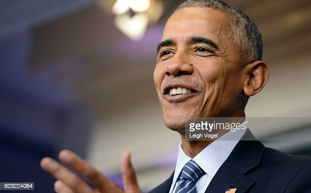 President Barack Obama delivers remarks and answers questions in the Brady Press Briefing Room prior to departing overseas to Greece Germany and Peru...