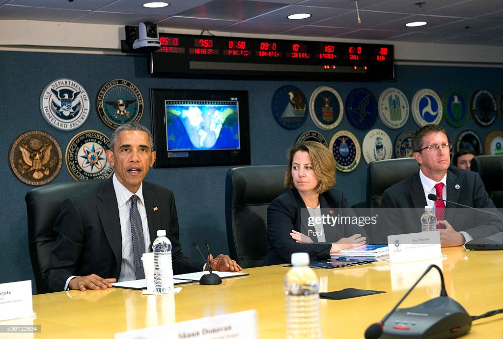 U.S. President <a gi-track='captionPersonalityLinkClicked' href=/galleries/search?phrase=Barack+Obama&family=editorial&specificpeople=203260 ng-click='$event.stopPropagation()'>Barack Obama</a> delivers remarks as he receives a briefing on the upcoming Hurricane along with his Homeland Security Advisor Lisa Monaco and Rick Knabb, Director of the National Hurricane Centerseason at FEMA headquarters on May 31, 2016 in Washington, D.C.