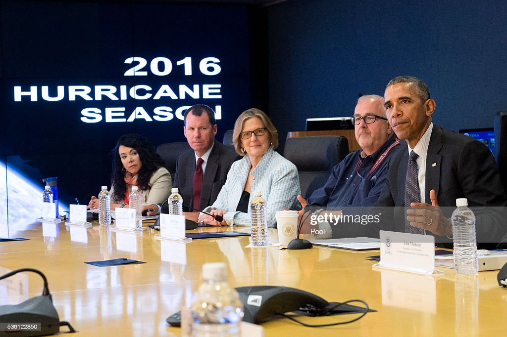 U.S. President <a gi-track='captionPersonalityLinkClicked' href=/galleries/search?phrase=Barack+Obama&family=editorial&specificpeople=203260 ng-click='$event.stopPropagation()'>Barack Obama</a> delivers remarks as he receives a briefing on the upcoming Hurricane season at FEMA headquarters on May 31, 2016 in Washington, D.C.