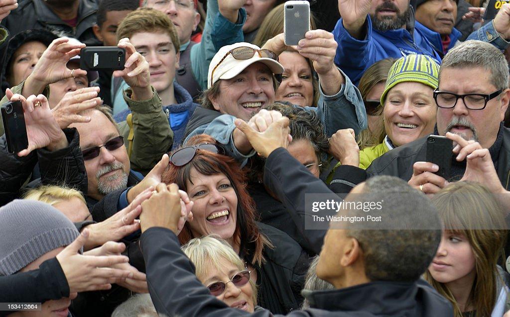President Barack Obama delivers remarks at a campaign event at Sloan's Lake Park in Denver, Colorado on October 04, 2012. Marvin Joseph/The Washington Post via Getty Images)