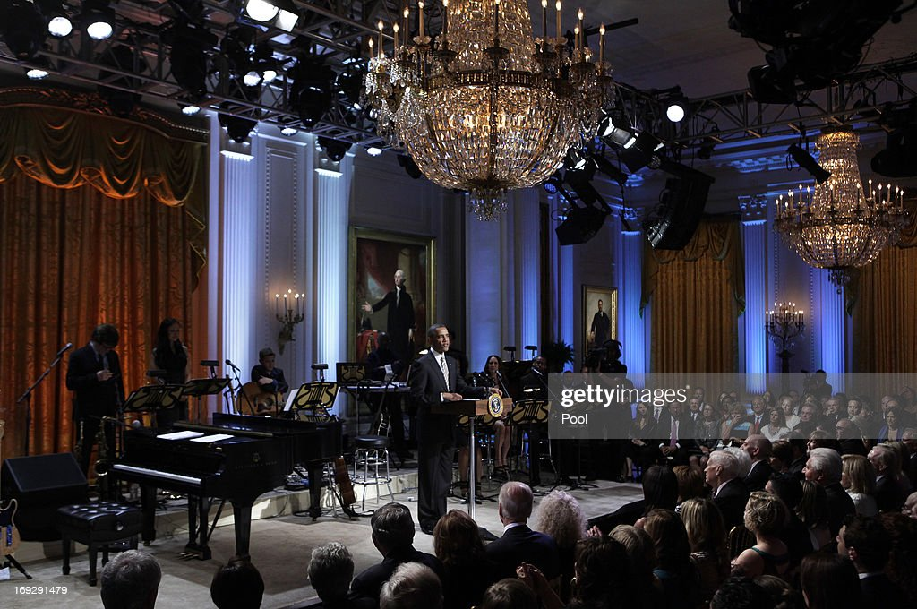U.S. President <a gi-track='captionPersonalityLinkClicked' href=/galleries/search?phrase=Barack+Obama&family=editorial&specificpeople=203260 ng-click='$event.stopPropagation()'>Barack Obama</a> delivers remarks at a concert honoring singer-songwriter Carole King with the 2013 Library of Congress Gershwin Prize for Popular Song at the White House on May 22, 2013 in Washington, DC. The Gershwin Prize for Popular Song recognizes artists for lifetime achievements in musical expression.